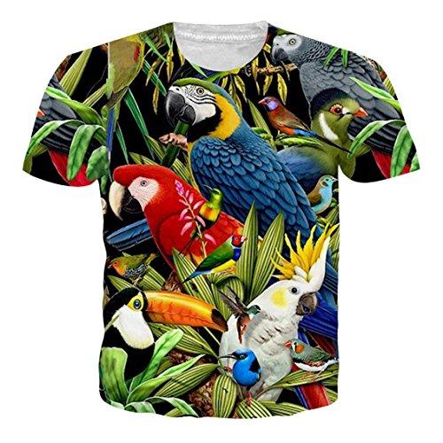 RAISEVERN 3D T-Shirt pour Hommes Femmes D'été Casual Tees À Manches Courtes avec Drôle Psychologie Vague Ligne Imprimé,Perroquet (Multicolor),M