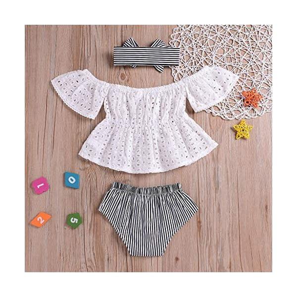 PAOLIAN Conjuntos para Bebe Niñas Verano Recién Nacidos Camisetas Sin Tirantes Manga Corta Pantalones Corto Diademas… 2