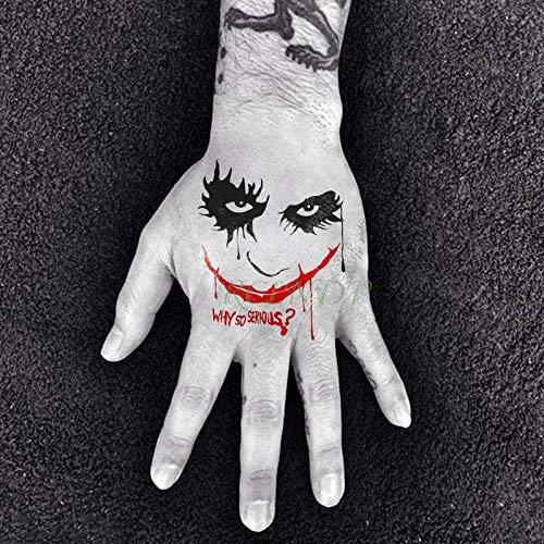 5 stücke Wasserdichte tatoo Tattoo Aufkleber selbstmordkommando joker großen roten mund ernsthafte tatto flash tatoo tattoos für männer frauen dame (Joker Temporäre Tattoo)