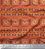 Soimoi Orange Satin Seide Stoff geometrisch afrikanisch