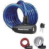 Master Lock Fietskabelslot [Sleutel] [1,8 m Oprolkabel] [Buiten] [Willekeurige kleur] 8127EURPRO - voor (Elektrische) fietsen