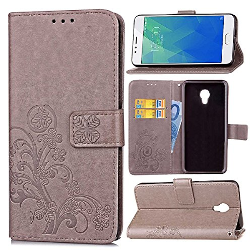 Guran Custodia in Pu Pelle Lucky Clover Flip Cover per Meizu M5S Smartphone avere Portafoglio e Funzione Stent Modello di Trifoglio Fortunato Copertura Protettiva - Grigio