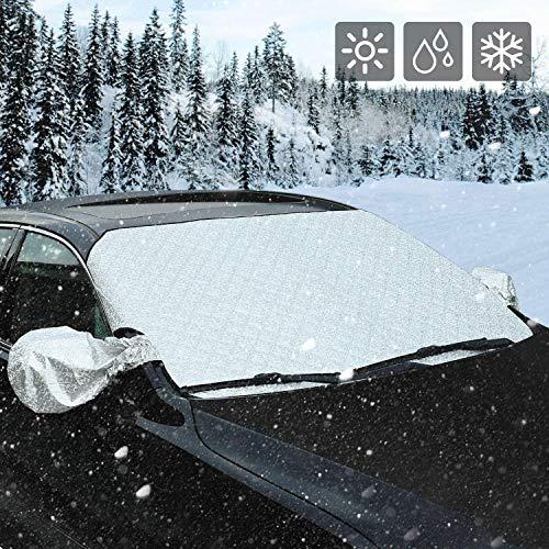 MEYLEE Auto-Windschutzscheiben- Und Schneedecke, All Seasons Windschutzscheibenschutz Mit Seitlichem Spiegelschutz Und Diebstahlschutz, 58