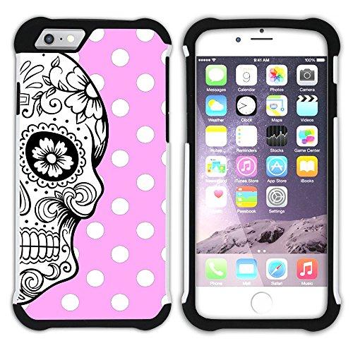 Graphic4You Mexikanische Zuckerschädel Tod Punktmuster Tupfen Muster (Wasserblau) Hart + Weiche Kratzfeste Hülle Case Schale Tasche Schutzhülle für Apple iPhone 6 / 6S Hell-Pink