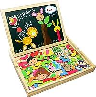 Fajiabao Rompecabezas Caja de Madera Magnética de Tablero Educativo Pizarra Juguete Puzzle para Niños de 3 Años +