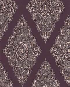 Graham & Brown Papier Peint - Jewel - Julien McDonald Violet Prune / Or - 31-167