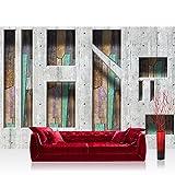 Fototapete 368x254 cm PREMIUM Wand Foto Tapete Wand Bild Papiertapete - Kunst Tapete Abstrakt Betonmauer Formen Holz bunt - no. 1264