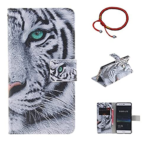 GOCDLJ Cell Phone Case for Huawei P9 Lite Slim Protective Case Pattern, Huawei P9 Lite Ultrathin PU Leather Flip Cover, Anti Scratch Bumper Cover Wallet Fully Protective Build in Stand Function Folio Book Style with Magnetic Holder Cash Pocket ID Card Slots Pouch Soft Silicone Backcover Backside Shell Artificial Sleeve + Chinese Style Red Bracelets Design White