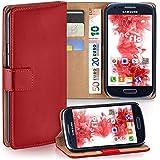 Samsung Galaxy S3 Mini Hülle Rot mit Karten-Fach [OneFlow 360° Book Klapp-Hülle] Handytasche Kunst-Leder Handyhülle für Samsung Galaxy S3 Mini S III Case Flip Cover Schutzhülle Tasche