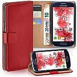 moex Samsung Galaxy S3 Mini | Hülle Rot mit Karten-Fach 360° Book Klapp-Hülle Handytasche Kunst-Leder Handyhülle für Samsung Galaxy S3 Mini S III Case Flip Cover Schutzhülle Tasche