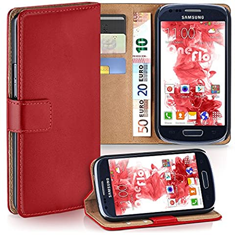 Samsung Galaxy S3 Mini Hülle Rot mit Karten-Fach [OneFlow 360° Book Klapp-Hülle] Handytasche Kunst-Leder Handyhülle für Samsung Galaxy S3 Mini S III Case Flip Cover Schutzhülle