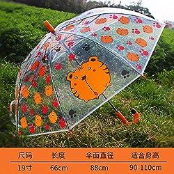 qqyz Paraguas De Los Niños De Dibujos Animados Gato Paraguas Transparente Paraguas para Niños Semi-automático Paraguas Animal Lindo Tigre