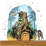 ilka parey wandtattoo-welt® Elfentür aus Echtholz mit zauberhaftem Baumhaus in geheimnisvollem Zauberwald mit Elfe Anouki, Rehlein Belli, Eichhörnchen Bo und Eisvogel e15 - ausgewählte Farbe der Holztür: *naturfarben*