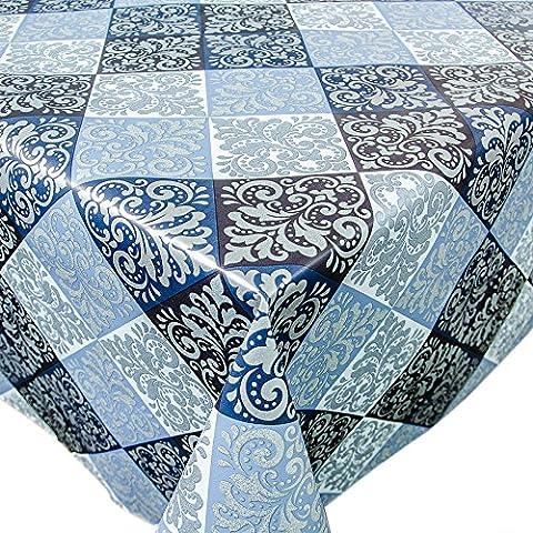 Tovaglia cerata a quadretti, colori: blu, azzurro, blu scuro, lunghezza