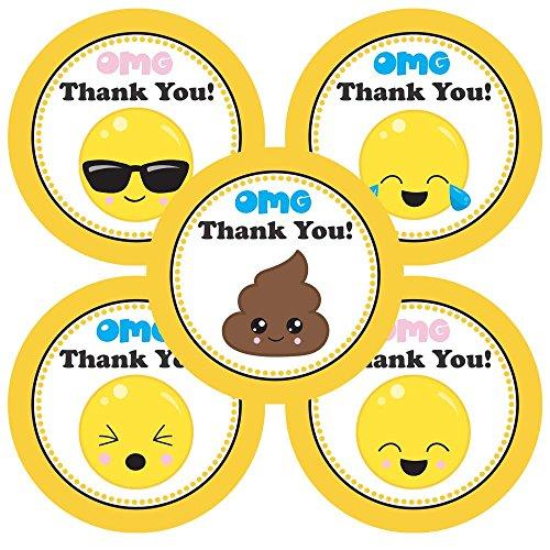 Adorebynat Party Decorations - EU Emoji Danke Aufkleber Etiketten - Emoticons Planer Geburtstags-Baby-Partei liefert Dusche - Set 50