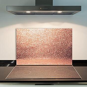 52x60cm Wallario Herdabdeckplatte 1-teilig aus Glas Rosafarbene Rosenblüten