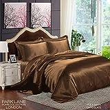 6Satin Seide Bettwäsche Set Bettbezug Spannbetttuch Komplettes 4Kissenbezügen, schokoladenbraun, King Size