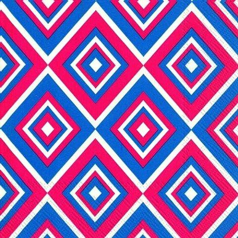 Squadra Blu Rosso geometrica diamanti–Tovaglia di carta confezione da 20tovaglioli