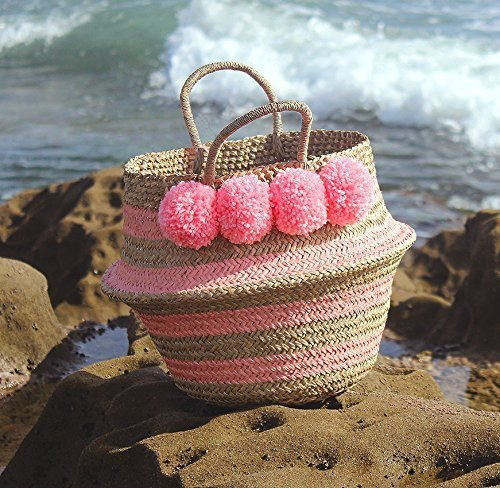 "Brunna ""Stripes Tribes Classic"" Pink Striped Beach Basket / Beach Bag, Bridesmaid Bag, Pompom Bag, Boho Bag, Pink Straw bag, Storage Basket, Nursery basket in Pastel Pink - handmade-bags"