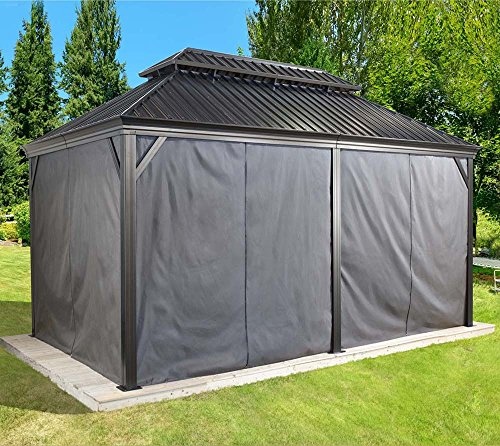 Sojag Aluminium Pavillon Messina Vorhänge Seitenteile Dunkelgrau/passend für Gartenlaube Messina...