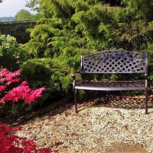 Lazy Susan – SANDRA Quadratischer Kaffeetisch mit 1 ROSE Gartenbank – Gartenmöbel Set aus Metall, Antik Bronze - 9