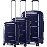 Kono Set de 3 Valises Rigide en Polypropylène Ensemble de Bagages Léger 4 roulettes avec Serrure TSA(Bleu Marine, Set of 3)