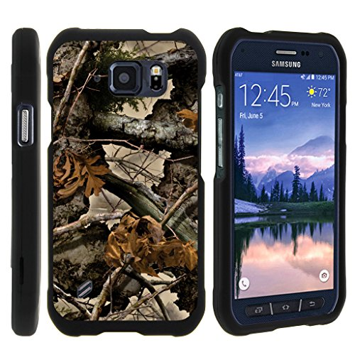 turtlearmor | Kompatibel für Samsung Galaxy S6 Active Schutzhülle | G890 [Slim Duo] Zwei Stück Hard Cover Slim Snap auf Fall auf Schwarz -, Tree Leaves Camouflage (Android Cell Cricket Phones)