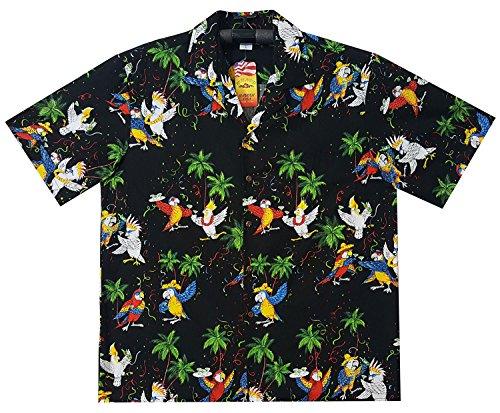 P.L.A. Original Camisa Hawaiana, Party Parrots, negro 2XL