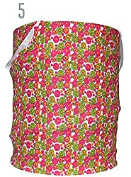 Multipurpose Foldable & Collapsible Pop-Up Round Laundry Bag Basket with Zippered Lid and Carry Handle (5.pink & green flower)