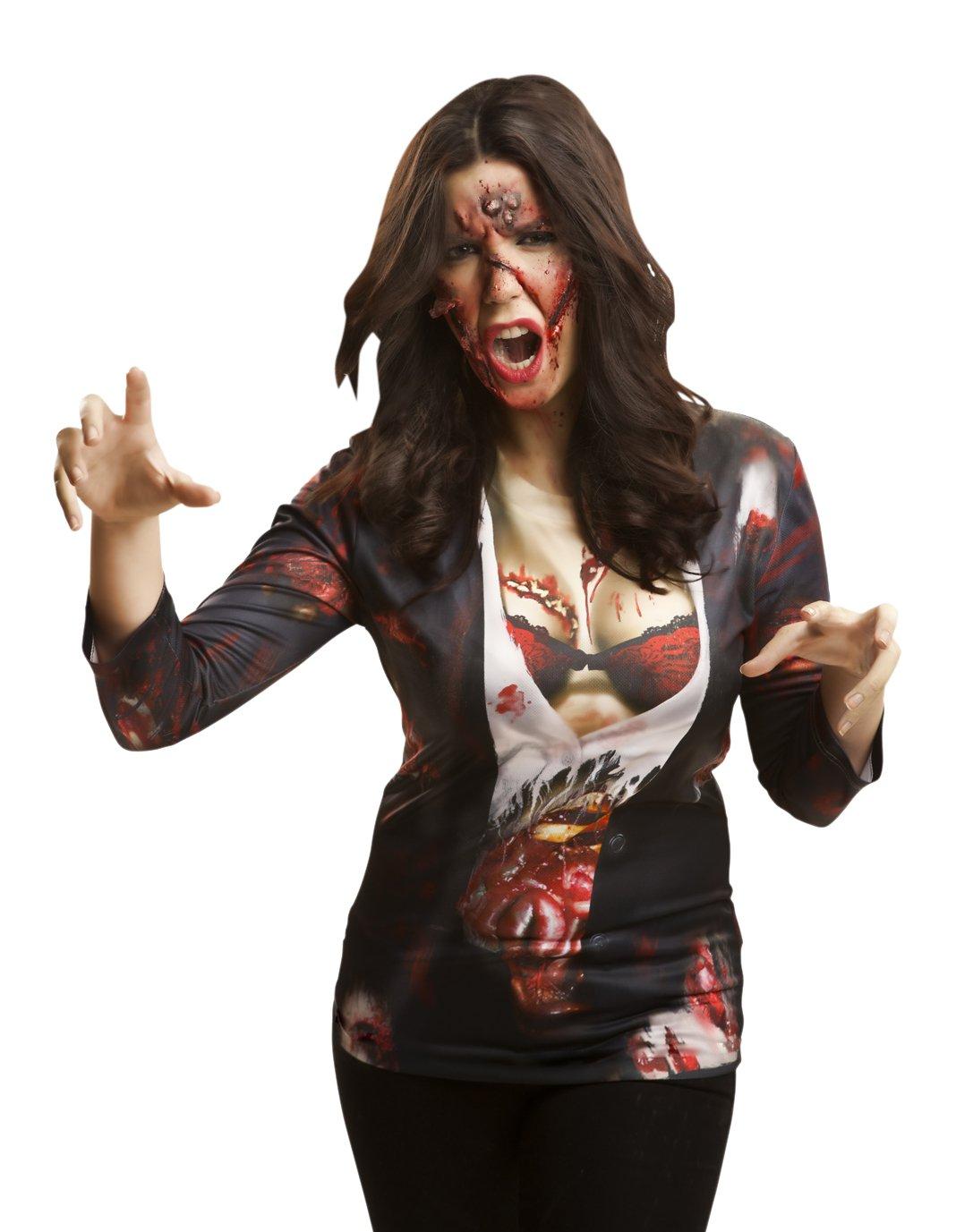 Yijja Fast Fun – Zombie Girl, camiseta de manga larga para adultos, talla L (Charm Kingdom YJ00007)