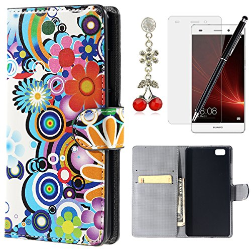 Cover huawei p8 lite hb-int protettiva portafoglio stand cover colorato case fiori modello custodia accessori book style flip cover case morbido tpu cassa interna per huawei p8 lite 2015 / 2016