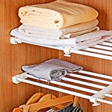 DIY Adjustable Scalable Wardrobe Cupboard Shelves Storage Rack Refrigerator Bookcase Compartment Divider,Width 24CM (Length Stretch:38-55CM)