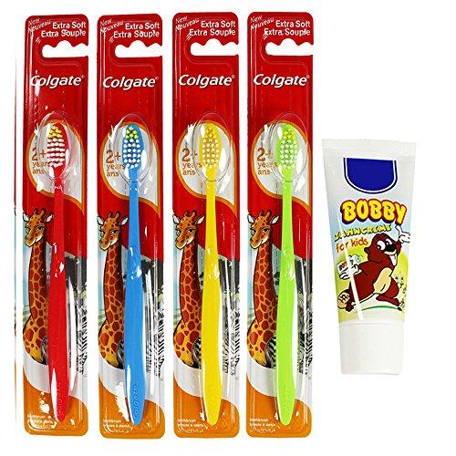 Colgate 4er Set bunte Kinder-Handzahnbürste Extra Soft inklusive 50ml Kinder-Zahncreme (4er Set + Zahnpasta)