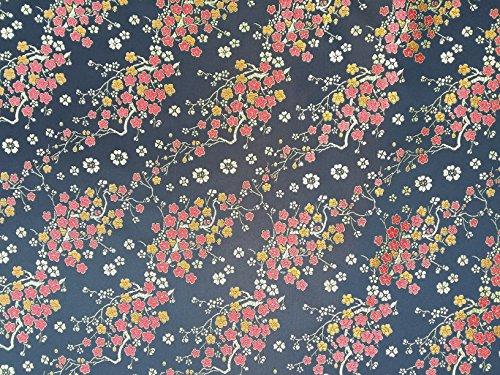 Chinesische Seide Oriental Blüten Abend Kleid, Brokat-Stoff, für Kleider und Jacken schwarz (Jacke Seide Brokat)