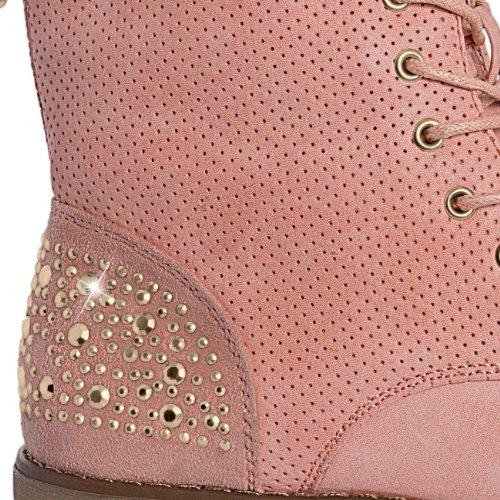 CASPAR - Bottines à lacets classiques pour femme avec strass - plusieurs coloris - SBO028 Corail