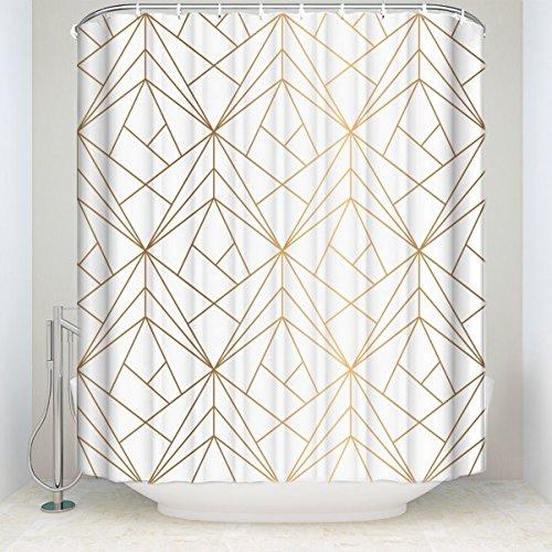 ezon-ch anpassen Wasserdicht Gold Line Geometrische gemustert Polyester-Print-Badezimmer Dusche Vorhang, Textil, Golden Lines, 72x78 (Dusche Vorhang Kostüm)