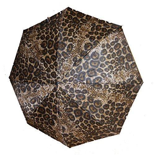 Mini-LEOPARD-Regenschirm für die Hand-Tasche, Leoparden-Safari-Look, Länge: 23cm -