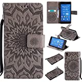 For Sony Xperia Z3 Case [Gray],Cozy Hut [Wallet Case] Magnetic Flip Book Style Cover Case ,High Quality Classic New design Sunflower Pattern Design Premium PU Leather Folding Wallet Case With [Lanyard Strap] and [Credit Card Slots] Stand Function Folio Protective Holder Perfect Fit For Sony Xperia Z3 5,2 inch - gray