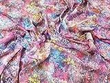 Spanisch 3D bestickt Georgette-Kleid Stoff gedruckt Pink &