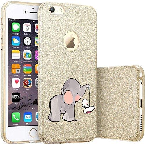 finoo | iPhone 7 Goldene bedruckte Rundum 3 in 1 Glitzer Bling Bling Handy-Hülle | Silikon Schutz-hülle + Glitzer + PP Hülle | Weicher TPU Bumper Case Cover | Queen Black Elefanten Schaukel Hase