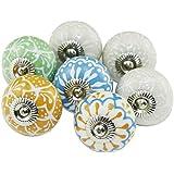 Vintage dekorativa keramiska knoppar handmålade runda köksskåp skåp lådknoppar och dragbyrå handtag med skruvar för byrå gard
