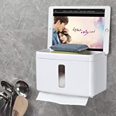 HOME CUBE® Magic Sticker Series Self Adhesive Bathroom Multifunctional Tissue Paper and Mobile Box Holder with Suction Box - White Color