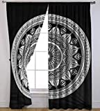 """Black Ombre Mandala Printed Cotton Full Window Curtain Wall Tapestry Drapes Curtain Valances Window Treatments 82""""x82"""" By Handicraft-Palace"""