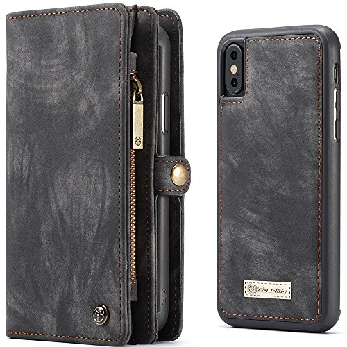ne XS Handyhülle Handyschutz mit Kartenfächern abnehmbar Magnet Flip Case Brieftasche Geldgebörse Handy Schutzhülle Grau ()