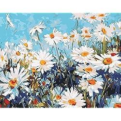 Fuumuui Lienzo de Bricolaje Regalo de Pintura al óleo para Adultos niños Pintura por número Kits Decoraciones para el hogar -Las Margaritas 16 * 20 Pulgadas