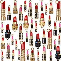 60 Pieces Mixed Enamel Lipstick Makeup Charm Pendant for Jewelry Bracelet DIY Making Necklace Supplies