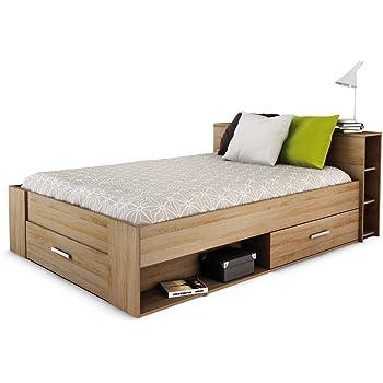 lit multifonction bali 160x200 queen size caramel avec beaucoup d 39 espace de rangement et des. Black Bedroom Furniture Sets. Home Design Ideas