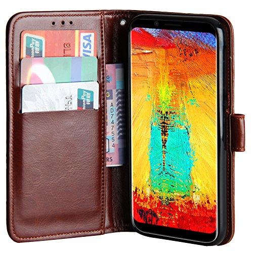 Raiphy Leder Brieftasche Hülle für Leagoo S8 Pro,Telefon schützender lederner Fall mit Einem Einbauschlitz und Standfunktion (Braun)