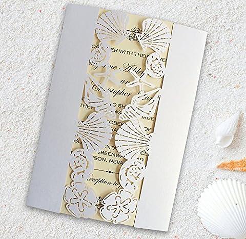 Plage de mariage d'invitation Invitation de mariage, Coquillage, étoile de mer d'invitation–Lot de 50pcs