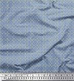Soimoi Blau Seide Stoff geometrisch klein Stoff Meterware
